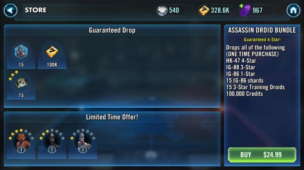 Покупка пака за $24.99 - Star Wars: Galaxy of Heroes