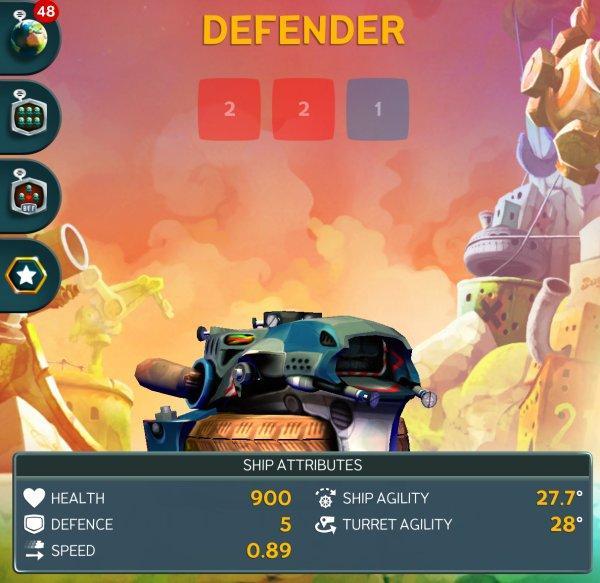 Корабль Defender в Battle Bay