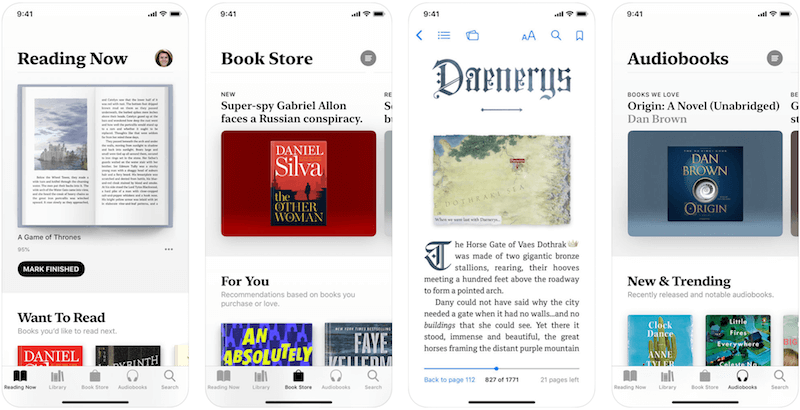 Apple Books (скачать) – давно известная и широко используемая читалка.