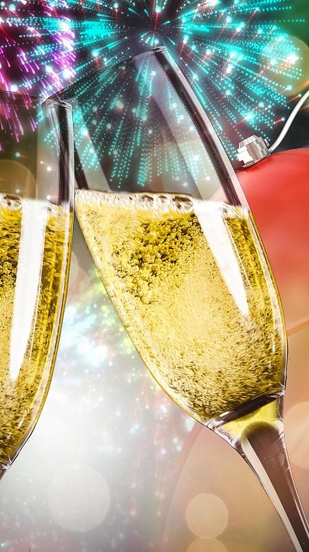 новогодние обои, обои шампанское