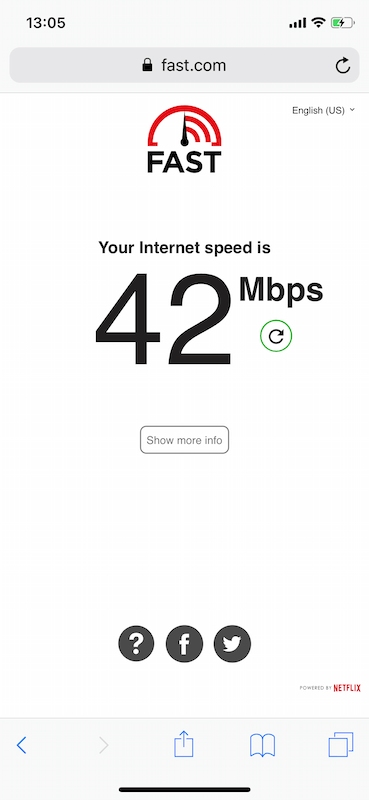 Проверка скорости Интернета через Fast