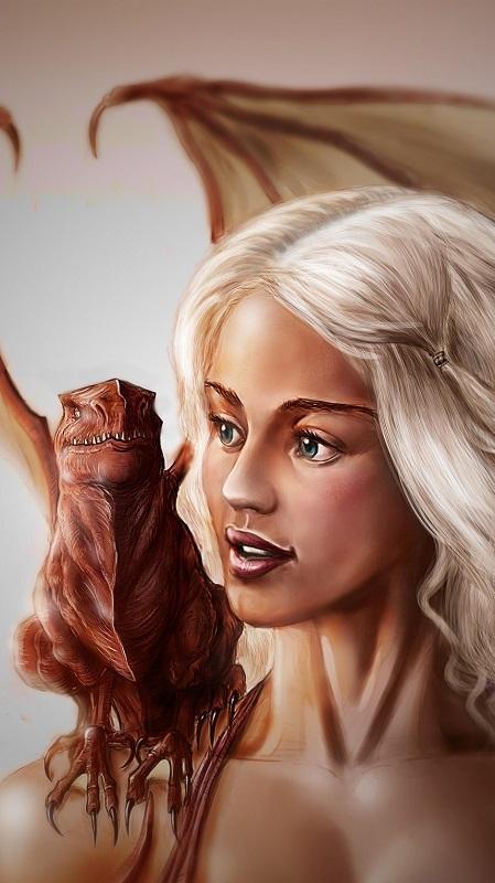 обои девушки, девушка с драконом рисунок, Кхалиси