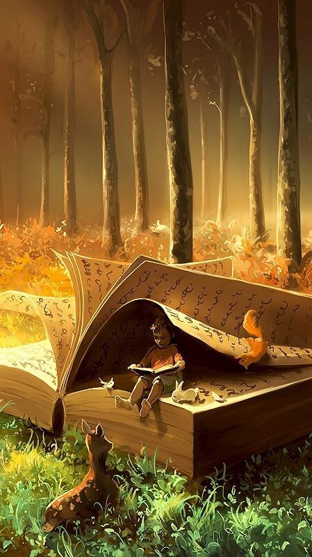 обои осень, обои лес, обои книга