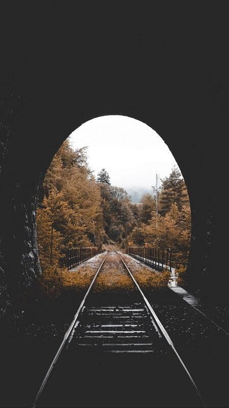 обои осень, обои тоннель, обои железная дорога