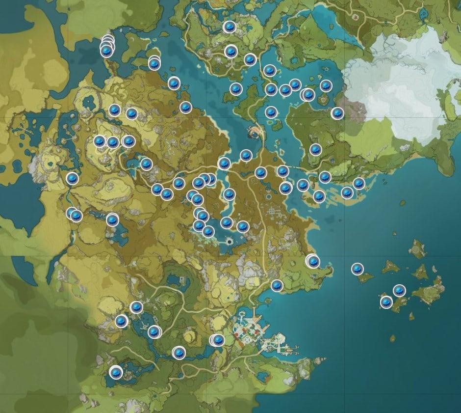 Самая полная карта расположения всех туманных цветов в Genshin Impact в 2020