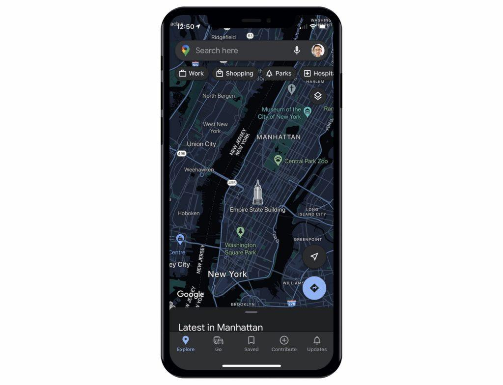 google maps темный режим